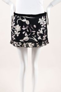 Chanel Black White Woven Velvet Trim Floral Print Ruffle Wrap Sarong Mini Skirt Multi-Color