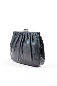 Judith Leiber Leiber Reptile Moonstone Deco Black Clutch