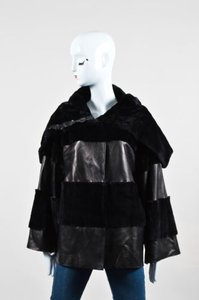 Dolce&Gabbana Leather Fur Shawl Striped Button Coat