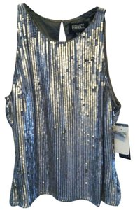 Adrianna Papell Top Silver