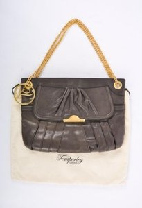 Temperley London Brown Leather Pleated Chain Shoulder Bag