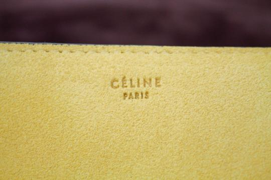 Céline Yellow Blue Leather Pony Fur Shoulder Bag