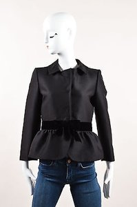 Giambattista Valli Giambattista Valli Black Wool Silk Velvet Bow Long Sleeve Blazer Jacket