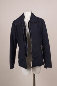 Giorgio Armani Navy Cotton Blend Coat