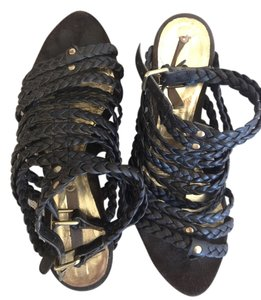 Zara Gladiator Wedge Sandal Black Sandals
