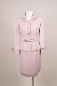 Louis Vuitton Louis Vuitton Lavender Woven Knit Ruffle Belted Skirt Suit Set 4202