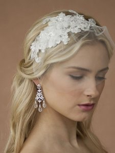 White Or Ivory Beaded European Lace Headband and Petite Face Veil Hair Accessory