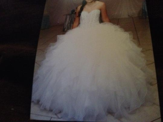 Mori Lee White with Sequence Bodice Organza 80041 Formal Wedding Dress Size 2 (XS)