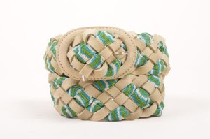 Missoni Missoni Green Beige Tan Leather Knit Woven Belt 75cm