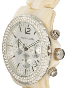 Michael Kors Michael Kors Women's Oversized Chronograph Bling Watch / Cream Horn