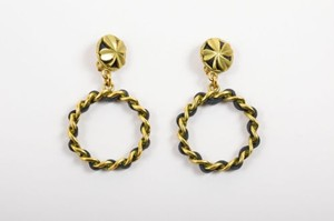 Chanel Vintage Chanel Brass Tone Metal Leather Clover Chain Hoop Clip On Drop Earrings