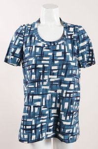 Marni Teal Navy White Poplin Top Multi-Color