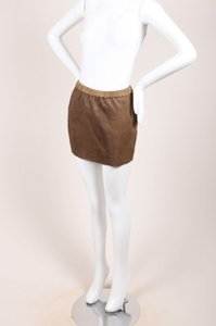 Isabel Marant Leather W Suede Mini Skirt Taupe-Gray