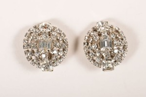 Vintage Silver Tone Rhinestone Dome Button Clip On Earrings