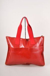 Miu Miu Mui Mui Leather Tote in Red