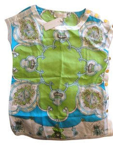 Julie Brown Silk Floral Green Blue Top Multi