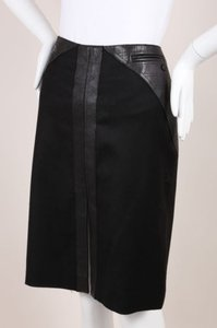 Chanel Black Stretch Wool Cashmere Quilted Leather Trim Pencil Skirt