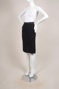 Lanvin Black Satin Silk Blend Skirt