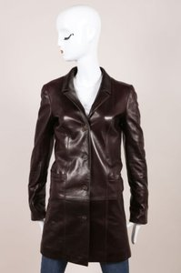 Chanel Brown Leather Cc Button Long Jacket