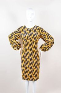 Winter Kate short dress Multi-Color Navy Yellow Silk Stripe Printed Long Sleeve Open Back on Tradesy
