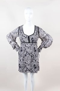 Winter Kate short dress Multi-Color Black White Silk Floral Print Scoop Neck on Tradesy