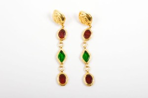 Chanel Vintage Chanel Gold Tone Red Green Gripoix Coco Chanel Clip On Drop Earrings