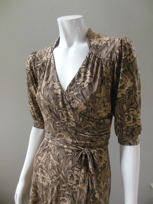 Laundry by Shelli Segal Tiewaist Faux Wrap Floral Stretch Knee Length Career Dress