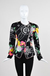 Other Vintage Constance Saunders Black Silk Floral Print Multi-Color Jacket