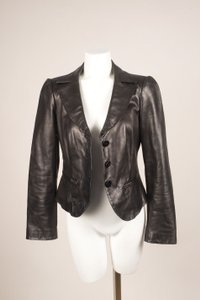 Armani Collezioni Black Zip Long Sleeve Buttoned Leather Jacket