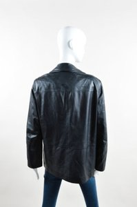 Max Mara Dark Navy Leather Blue Jacket