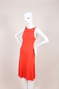 Valentino Roma Coral Orange Textured Knit Sleeveless 842 Dress