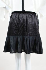 Miu Miu Satin Pleated Skirt Black