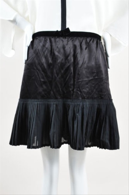 Miu Miu Black Satin Pleated Frill Bow Skirt good