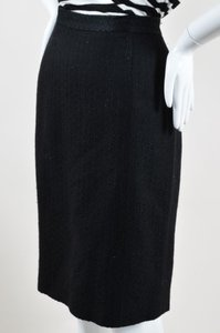 Moschino Cheap And Chic Wool Blend Embroidered Pencil Skirt Black