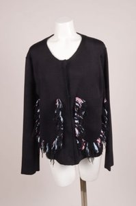 Sonia Rykiel Black Wool Blend Double Faced Fringe Knit Cardigan Sweater