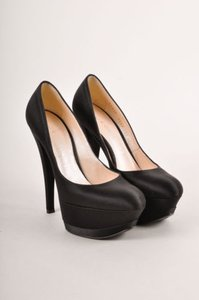 Casadei Black Satin Tapered Pumps