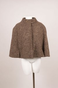 Behnaz Sarafpour Brown Wool Tweed Cape