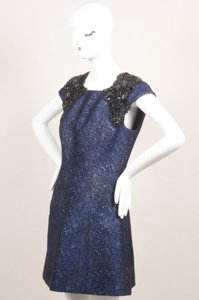 Andrew Gn Metallic Blue Black Dress