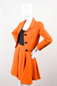 Vintage Orange Wool Cropped Jacket Skirt Suit