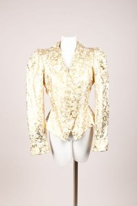 Saint Laurent Yves Saint Laurent Cream Gold Lame Floral Printed Tailored Silk Blazer