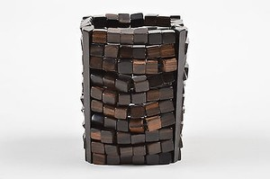 Monies Vintage Monies Brown Wooden Cube Beaded Elastic Wide Cuff Bracelet
