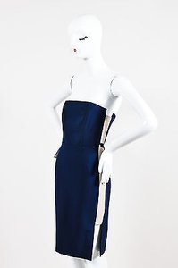 Mason by Michelle Mason Navy Cream Cut Out Colorblock Sl 0 Dress