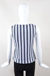 Theory Navy White Cotton Knit Top Multi-Color