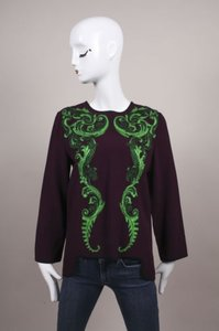 Andrew Gn Gn Green Embroidered Applique Ls Crepe Top