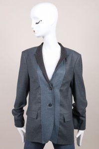 Jil Sander Jil Sander Blue Gray Wool Cashmere Buttoned Hopkins Blazer