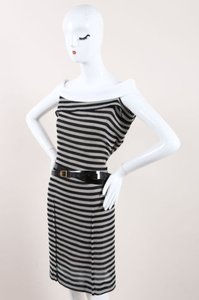 Roland Mouret Runway White Cotton Striped Layan Belted Dress