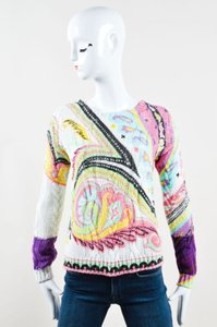 Etro Pink Mint Green Yellow Paisley Cable Knit Sweater