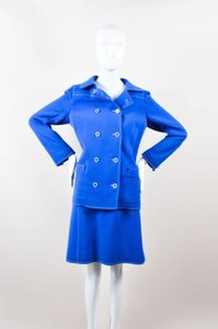 Courreges Vintage Courreges Blue White Wool Stitched Double Breasted Skirt Suit