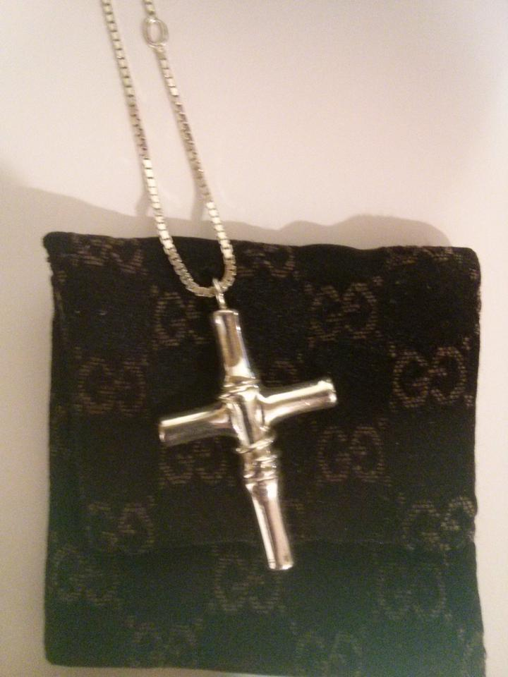 ac3551605 Gucci Authentic Gucci Bamboo Cross Necklace Chain -925 Sterling Silver w/  Box & Pouch. 123