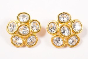 Chanel Vintage Chanel Gold Tone Clear Oversized Jeweled Floral Earrings